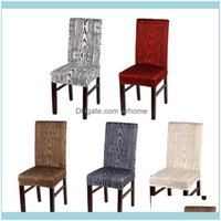 Chaise textiles Textiles GardencherS 4PCS / Lot amovible maison dîner ER blanc noir gris imprimé motif en bois élastique stretch spandex de