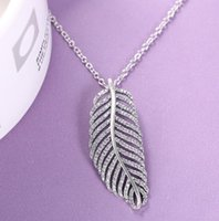 925 Sterling Silver Flashing light feather Crystal Pendant Chain Necklace Fashion Women Gift Jewelry for Pandora Necklace wjl4745