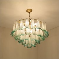 Living Room Luxury Green Glass Lustre E14 Led Pendant Lights Plate Metal Round Luminaria Chain Pendant Hanging Lamp Fixtures