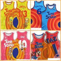 Космический джем Джерси фильма Tune Squad Lebron 10 Lola Bunny 6 James 2021! TAZ 1/3 Tweety Basketball 2 D.duck 23 Michael 1 Bugs Bunny 7 R.runner