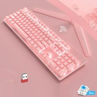 Keyboards 2.4GHz USB Receiver Wieless Mechanical Keyboard 104 Keycaps No Punch Gaming Green Switch Pink Wireless