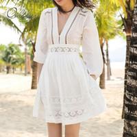 Casual kleider ordifree 2021 sommer frauen mini party dress stickerei aushöhlen weiße spitze häkeln sexy kurze tunika strand