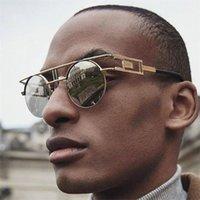 Vintage Round Steampunk Sunglasses Men Metal Frame Reflective Mirror Shades For Women Brand Designer Male Goitc Punk Glasses
