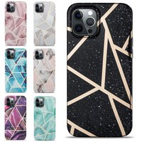 Marble Glossy Golden IMD Soft TPU Cell Phone Cases for iPhone 12 11 Pro Max XR XS X 8 7 6 Plus Small Camera Holes Lens Protection