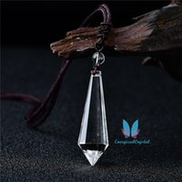 Bianco Cancella reiki al quarzo Pendulum Gemstone Charm Pendant Moda Modo Crystal