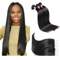 8A Mink Hair Virgin Peruvian Straight Hair 4 Bundles With Closure Buy Good Cheap Brazilian Malaysian Indian Human Hair Weaves Weft Wholesale