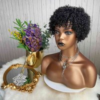 Xishi embroidery synthetic protein velvet wig elf African short hair curly Bob shearer cheap black women's
