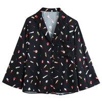 Novalya Turn Down Collar Blouses Women Fashion Lipstick Printed Shirts Elegant Black Long Sleeve Tops Female Ladies GAA Women's &