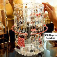 360 Grad rotierende Ohrringe Aufbewahrungsbox Schmuck Hängende Anzeigegestell Kunststoff mehrschichtige transparente Ohrstecker Halskette Organizer Regal