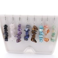 Irregular Natural Stone Crystal Silver Plated Handmade Earrings Dangle Party Club Decor Fashion Jewelry For Women Girl