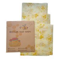 3 حزمة الطبيعية قابلة لإعادة الاستخدام شمع العسل الغذاء ورقة التفاف النحل الشمع - صغير متوسط كبير 606 S2