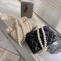 Gitter Square Crossbody Bag 2021 Sommer Hohe Qualität PU-Leder Damen Designer Handtasche Perle Strap Shoulder Messenger Bags