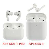Air Gen 3 Auricolari wireless AP2 AP3 con scatola di ricarica Rinomina GPS Bluetooth Cuffie Bluetooth Pods Pro Earbuds di alta qualità Earbuds 2a generazione