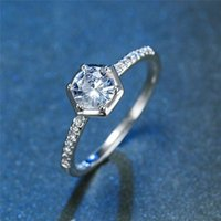 Wedding Rings Dainty Female White Round Zircon Ring Vintage Silver Color Thin Simple Bridal Geometric Engagement For Women