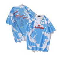 Astroworld T рубашка тур периферийной галстуки краситель облако с коротким рукавом футболка молодежный модный воротник мужские и женские пары Tops Tees