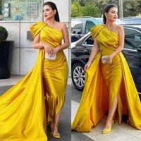 2021 Plus Size Arabic Aso Ebi Sexy One Shoulder Prom Dresses High Split Satin Sheath Evening Formal Party Second Reception Gowns Dress ZJ334