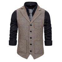 Мужские костюмы жилет моды корейских нескольких карманов Errdbone Tweed Mens Waitcoat формальный бизнес Slim Fit без рукавов куртка