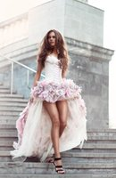 2020 New Sexy Beach Wedding Dresses Short Front And Long Back A Line With 3D Handmade Flowers All Around Tulle Hi-Lo Colorful Bri