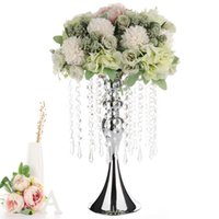 Candle Holders Holder Crystal Bead Curtain Rotating Metal Candlestick Flower Vase Table Centerpiece Rack Wedding Road Lead Decor