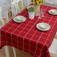 Modern Style Red Check Print Table Cloth Cotton linen Fabric...