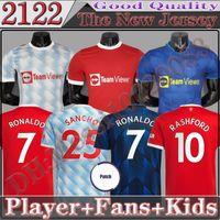 21 22 Homem Unido Versão Fsan Versão Futebol Jerseys Ronaldo Rashford 2022 Manchester Pogba Cavani Martial Shaw Van de Beek B. Fernandes Lingard Camisa de futebol Kit