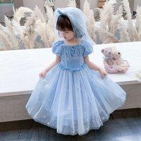Лето 2021 Девушки льда и снег Циюань 2 сетка с коротким рукавом Платье принцессы Детская 61 пузырьковая юбка