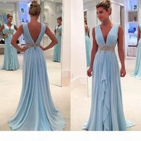 Light Sky Blue Chiffon A Line Evening Dresses Long Deep V Neck Beaded And Appliques Sash Prom Dresses With Pleats