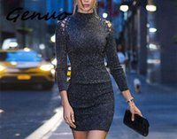 Casual Dresses Genuo Sexy Knitted Autumn Short Dress Women Sequin Lace Up Bodycon Christmas Vintage Evening Party Female Vestidos