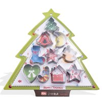Stainless steel biscuit mold combination Christmas tree multi shape cookie cartoon cake 10 Piece Set