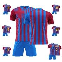 Men's T-Shirts 2021 2022 Kids Men Boys Soccer Clothes Sets Short Sleeve Uniforms Adult Tracksuit Jersey