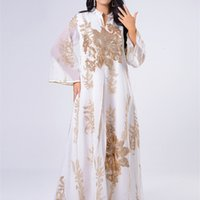 Siskakia Sequines вышитые платье Abaya для женщин марокканский кафтан Турция арабский арабский халабия белый исламский этнический халат EID новый 210329