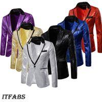 Erkekler Parlak Altın Pullu Glitter Süslenmiş Blazer Ceket Gece Kulübü Blazers Düğün Takım Elbise Sahne Şarkıcılar Giysileri