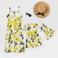 가족 일치하는 복장 여름 여자 레몬 인쇄 짧은 소매 드레스 어머니 면화 정지 드레스 엄마와 Me Match 의류 A6597