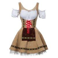 Hohe qualität traditionelles deutsch bier mädchen kostüm bayerische oktoberfest dirndl kleid für frauen cosplay halloween party kleid y0903