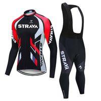 2021 Strava Pro Team 긴 소매 사이클링 저지 세트 턱받이 바지 Ropa Ciclismo 자전거 의류 MTB 자전거 저지 유니폼 남성 의류