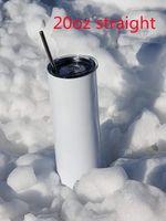 Sublimación Tumblers rectos 20oz Acero inoxidable congotas de acero inoxidable Tazas de metal DIY Tallas en blanco Tazas en blanco 600 ml Al vacío Café aislado Cerveza Botella de agua Carga del mar