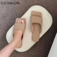 SUOJIALUN 2020 New Summer Women Slipper Fashion Embroidery Women Slip On Slides Square Toe Flat Casual Flip Flops Beach Slippers F67865