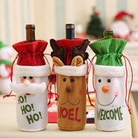 Natale bottiglia di vino decor Babbo Natale Snowman Deer Bottiglia Cover Bag Case Vestiti Cucina Decorazione Capodanno Capodanno Xmas Dinner Party FWD10106