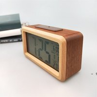 Wooden Digital Alarm Clock,Sensor Night Light With Snooze Date Temperature Clock LED Watch Table Wall Clocks BWA5497