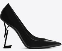 2020 Desinger Siyah Patent Deri Siyah Topuk Moda Gelin Düğün Ayakkabı Mütevazı Eden Yüksek Topuk Kadın Akşam Parti Ayakkabı Pompaları 10 8 cm
