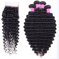 Human Remy Hair Bundles With Lace Frontal Closure 4x4 Deep Water Loose Wave Jerry Kinky Curly Brazilian Virgin 3 4 Weave Weft Extension 10A Grade