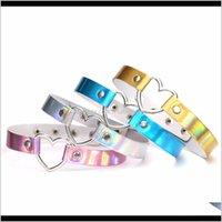 Chokers Ожерелья Подвески Drop Доставка 2021 ПУ Кожаное Ожерелье Подарок Для Женщин Голографический Choker Сердце Металлический Лазерный Воротник Chocker Fashio