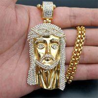 Colares Pingentes Golden Grande Jesus Cristo cabeça de aço inoxidável colar com corrente para homens gelados para fora strass hip hop jóias cristã