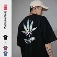 Hanlu Kısa Kollu T-Shirt 2021 Yaz Yeni Gevşek Ve Renkli Akçaağaç Yaprak Baskı Moda erkek T-shirt