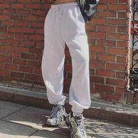 Kadın Pantolon Capris QWEEK 2021 Moda Kpop Kore Tarzı Koşu Sweatpants Kadınlar Baggy Joggers Gri Spor Pantolon Csual Bahar