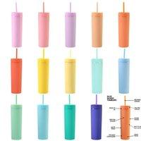 16 oz 16 farben acryl dünn tumbler mit deckel strohhals kunststoff doppelwand milch kaffeetassen matte süßigkeiten farbe slim cup schwarze wasserflaschen für reisen