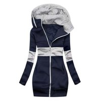 Long Sleeve Thick Mid-Calf Zip-up Hoodies Pockets Slim-Fit Solid Thicken Warm Women Aesthetic Sudadera Women's & Sweatshirts