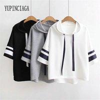 Yupinciaga mulheres webbing mangas curtas soltas cor sólida mangas listradas com capuz lace-up pulôver t-shirt novo verão camiseta 210401