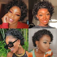 Short Afro Deep Wave Frontal Wigs Curly Pixie Bob Cut Human Hair