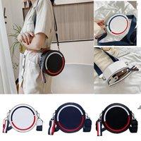 Mode Kleine Runde Blaue Taschen 2021 Korean Western Stil Umhängetasche Breitband Brief Messenger Größe18 * 9 cm Handtaschen DWA4846
